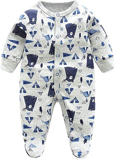 Recién Nacido Pijama Bebé Pelele Niños Mameluco Algodón Caricatura Trajes 0-12 Meses