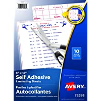 Avery Clear Self-Adhesive Laminating Sheets, 3 Mm, 9 X 12-Inch, 10 Sheets Per Pack (73603)