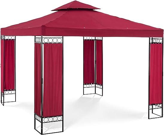 Uniprodo Pergola De Jardin Terrasse en Kit Tonnelle UNI/_PERGOLA/_3.5BR Ronde, ⌀ 3,5 m, Acier, Arr/ête Soleil Et Pluie, Toile 180g//m2, Beige