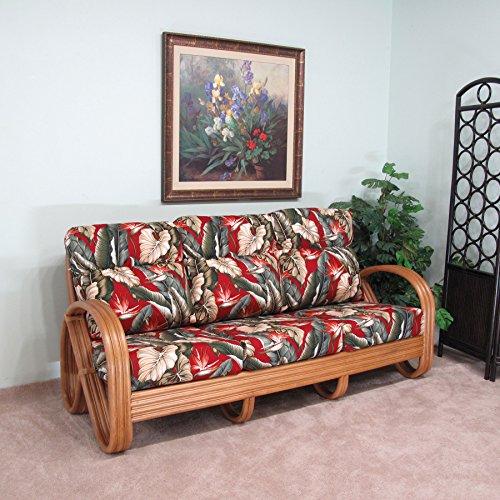 Kailua Rattan Sofa (Honey finish) Cushions Made in USA by urbandesignfurnishings.com
