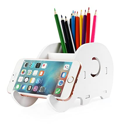 DIY Pencil Holder Elephant, 2 In 1 Cell Phone Stand Tablet Desk Bracket  Mobile Phone