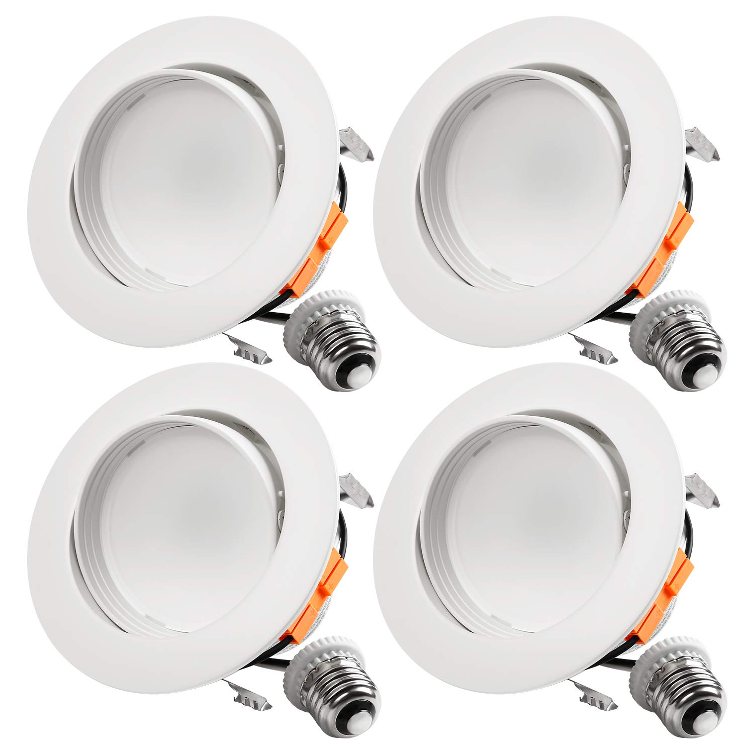 TORCHSTAR 10W 4-Inch Retrofit LED Gimbal Downlight, 650lm, 65W Eqv, UL & Energy Star Listed, Dimmable, Adjustable CRI90 Offwhite Recessed Ceiling Light, 3000K Warm White, 5 Years Warranty, Pack of 4
