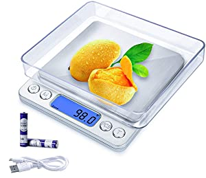 Upgraded Rechargeable Digital Kitchen Scale with 2 Trays, 3kg/0.1g Portable Pocket Electronic Food Baking Scale for High Precision Weight Grams and oz with Backlit LCD Display
