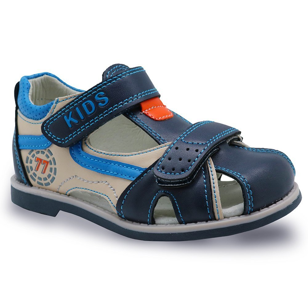 HMei Boys Outdoor Closes-Toe Summer Adjustable Strap Beach Breathable Sports Sandals Beige/Blue 8.5M US Toddler