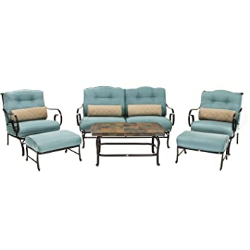 Oceana 6 Piece Patio Set In Ocean Blue With A Stone Top Coffee Table