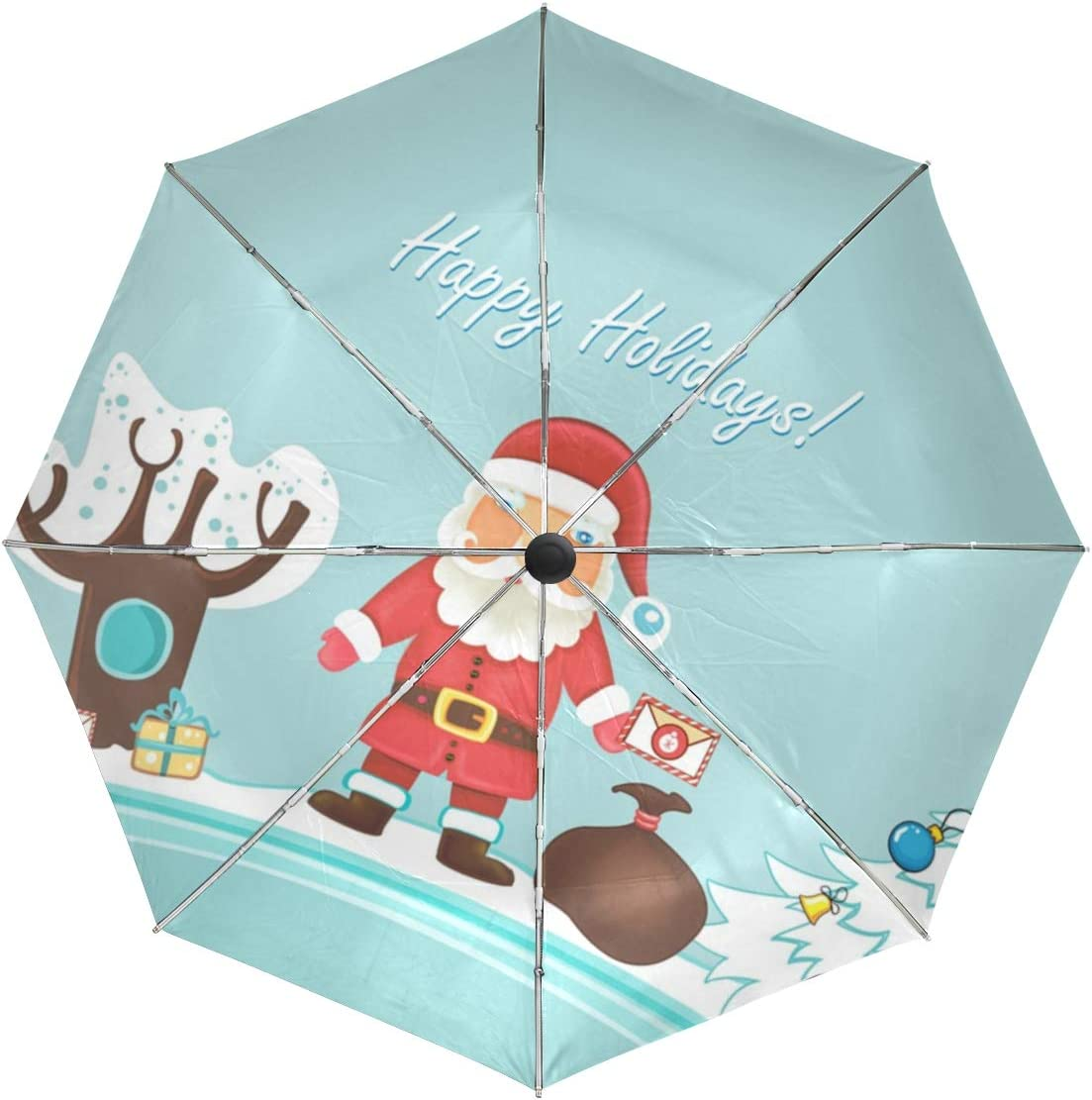 Compact Umbrella,Santa Claus Happy Holidays Automatic Folding Travel Umbrella,Windproof Reinforced Canopy Ergonomic Non-Slip Handle Auto Open//Close for One Handed Operation