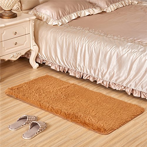 Adasmile Super Soft Thick Indoor Modern Shaggy Area Rugs/Floor Mat/Cover Carpets with Memory Foam Coral Velvet Fabric for Living Room/bedroom/Nursery/Teens/Home Decorate (24x47Inch, khaki)