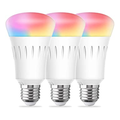 LOHAS Smart Bulb, WiFi LED Light A19, Daylight Warm and Color Bulbs Dimmable, 60W Equivalent LED Wireless, E26 Base, Smart Home Lighting Compatible with Alexa Google Assistant 3Pack