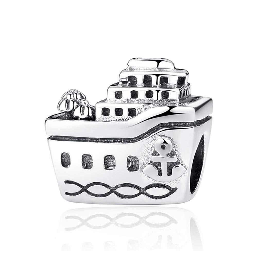 Original 925 Sterling Silver Bead Charm Fit Bracelets Love Travel Palm Tree Eiffel Tower Women Jewelry La Sagrada Familia