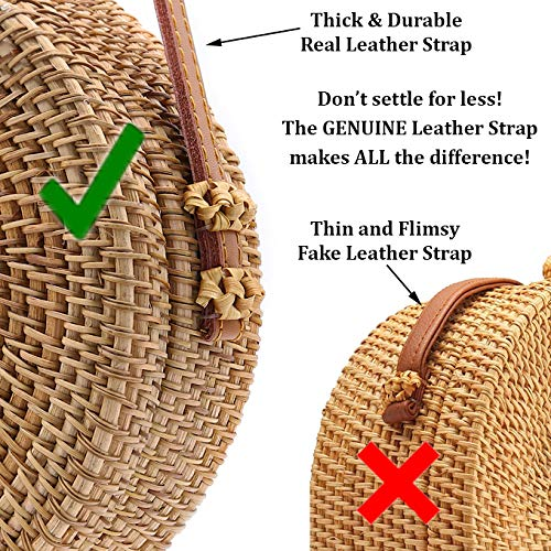 RATTAN NATURALS Handwoven Round Rattan Crossbody Bag| DELUXE EDITION | Round Straw Bag for Women | Genuine 100% Leather Shoulder straps | Straw purse For Women | Boho bag | Straw Handbag for Women by Rattan Naturals (Image #3)