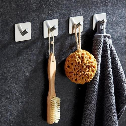 (OKOKMALL US--Bathroom Stainless Steel Self Adhesive Sticky Hooks Wall Storage Hanger Lin)