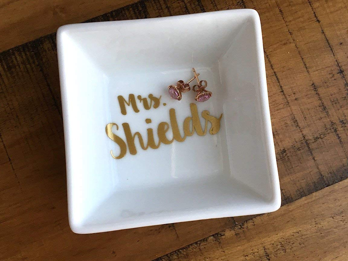 Newly Engaged Mrs Personalized Name Ring Dish Engagement Gift Jewelry Holder