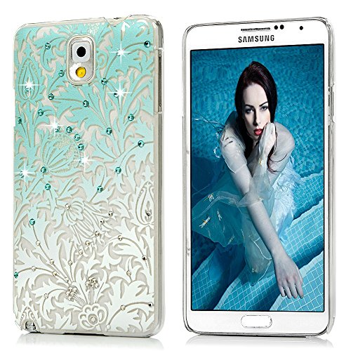 Note 3 Case,Samsung Galaxy Note 3 Case - Mavis's Diary 3D Handmade Bling Crystal Shiny Rhinestone Diaonds Special Hollow Floral Gradient Pattern Clear Case Hard PC Cover