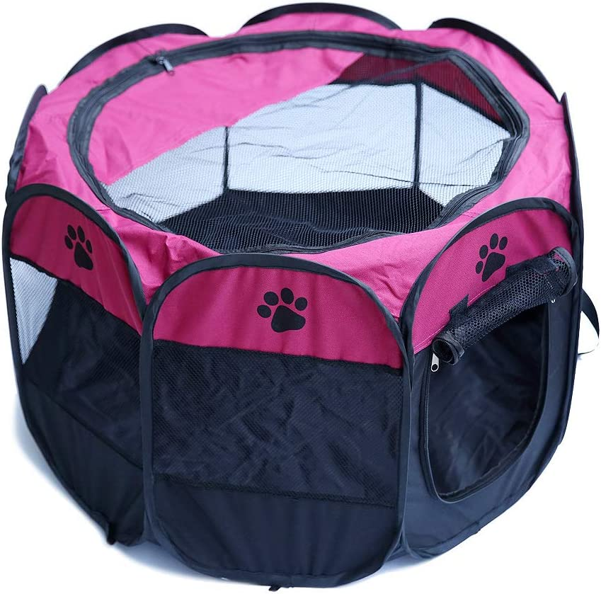 SUNERLORY Tienda de Campaña Plegable para Mascotas, Tienda de Jaula para Mascotas Transparente Zona de Juegos para Animales Pequeños, Parque de Juegos Octogonal para Perro, Gato, Conejo