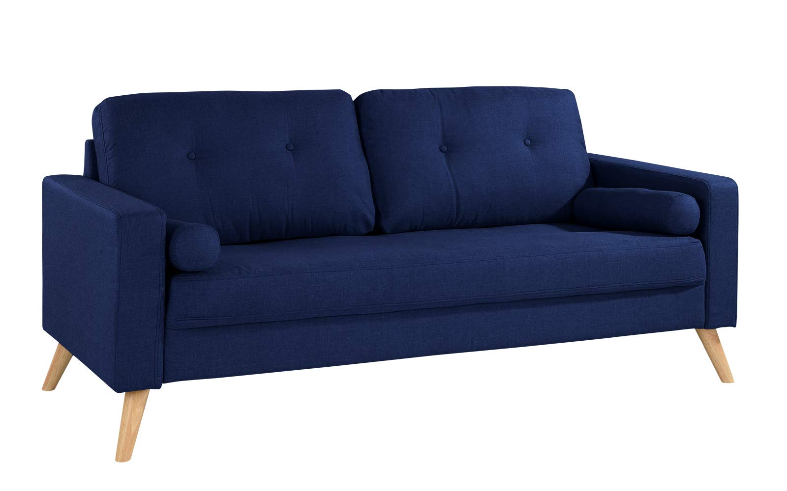 Modern Living Room Fabric Sofa, Couch with Tufted Buttons (Dark Blue) - Mid century modern linen fabric sofa couch with tufted button details. Upholstered in durable soft linen fabric featuring 2 accent bolster pillows in the same fabric. High density foam on seat for extra comfort. Small space couch, perfect for a studio apartment. - sofas-couches, living-room-furniture, living-room - 61YzXe0CAUL -
