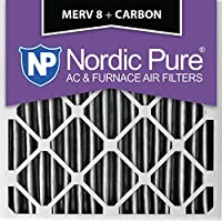 Nordic Pure 20x20x2PM8C-3 Pleated MERV 8 Plus Carbon AC Furnace Filters (3 Pack), 20 x 20 x 2