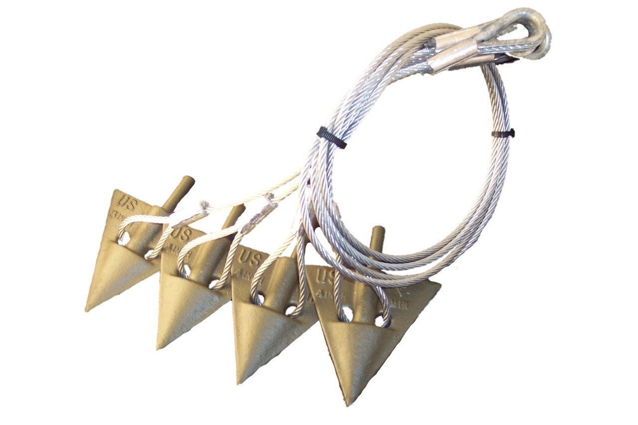 4'' Earth Anchor (4 Anchor Set) W/3/16'' Cable Assembly ''WITH DRIVE ROD''