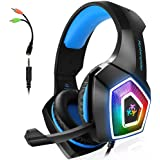 Gaming Headset with Mic for Xbox One PS4 PS5 PC Switch Tablet Smartphone, Headphones Stereo Over Ear Bass 3.5mm Microphone No