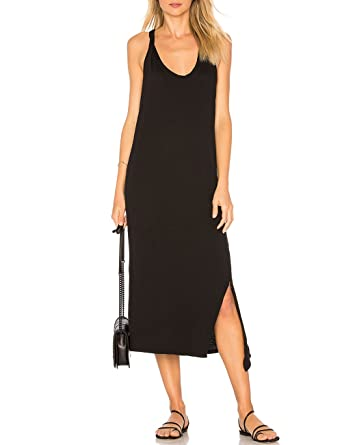 fba1c6aacfbf ALLY-MAGIC Womens Sleeveless Side Split Long Dress Casual Tank T-Shirt Midi  Dresses at Amazon Women s Clothing store