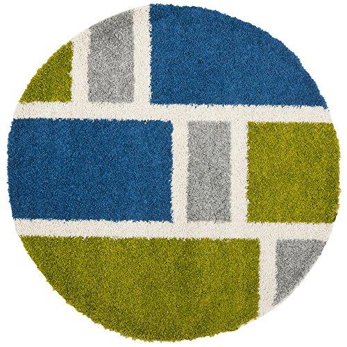 Safavieh SG911-6552 Shag Collection Round Area Rug, 5-Feet, Blue/Green