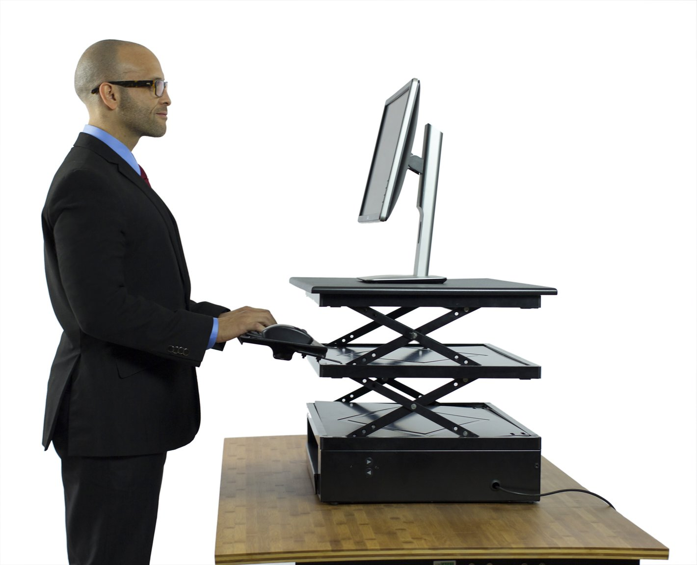 Uncaged Ergonomics Electric Change Desk, Height Adjustable Standing Desk Converter, Ergonomic Stand Up Desk Conversion Kit (CDE-b) by Uncaged Ergonomics (Image #1)