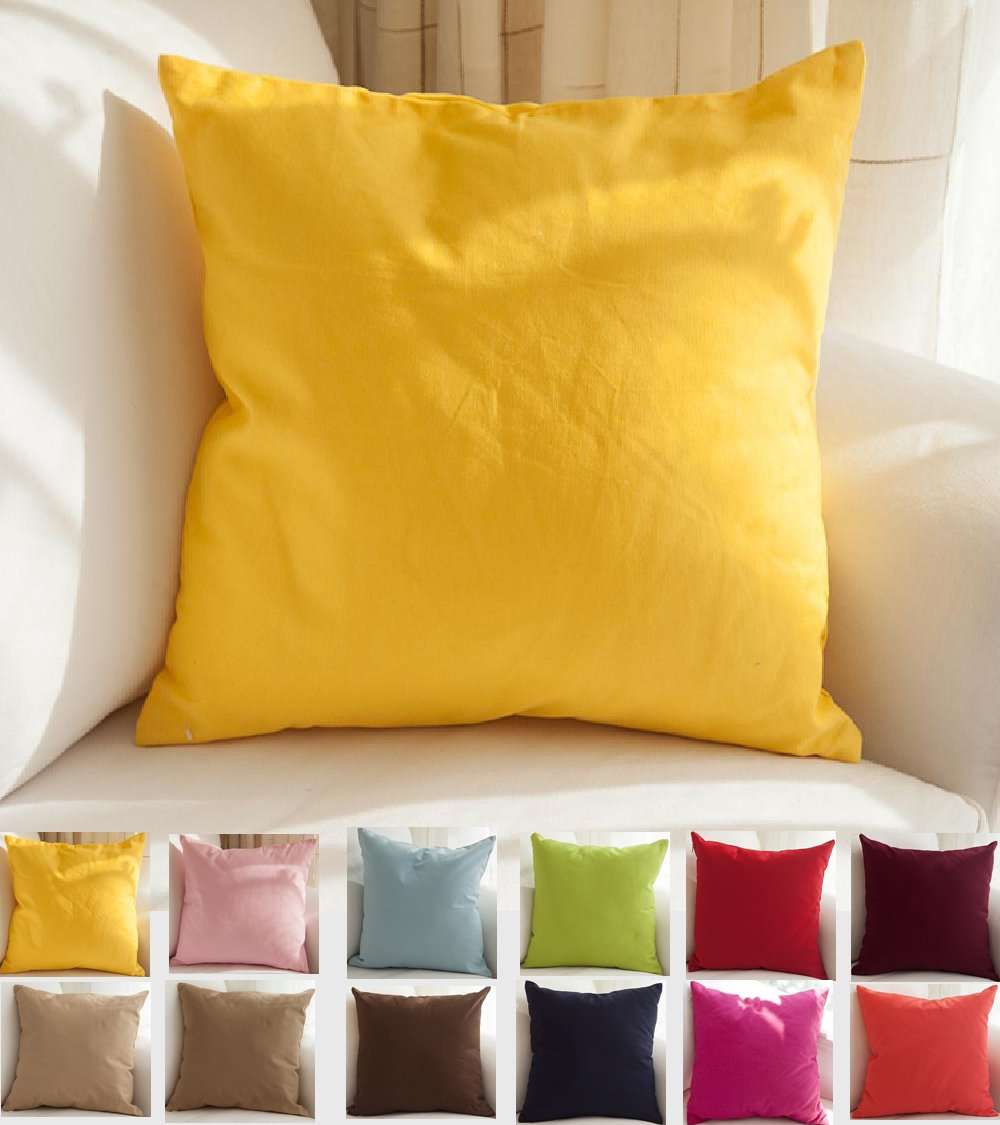 TangDepot Cotton Solid Throw Pillow Covers, 18'' x 18'' , Yellow