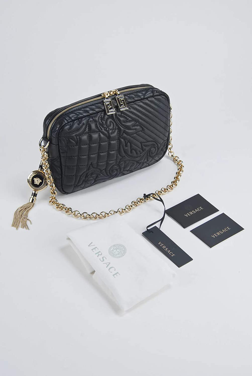 Amazon.com  Gianni Versace Vanitas Collections Black Lambskin Quilted  Shoulder Bag   Removable Medusa Charm Pendant  Shoes 5f0bcb1658