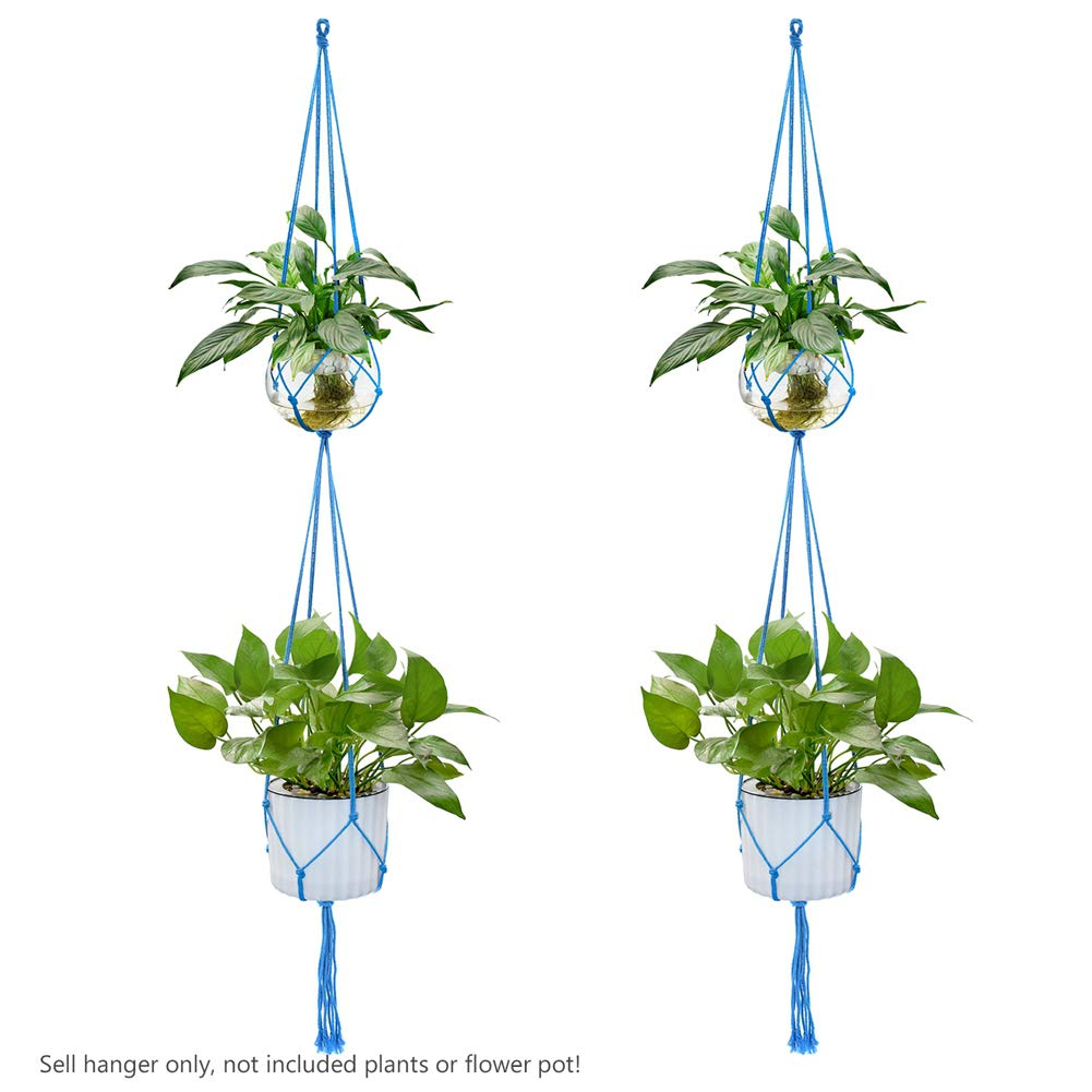 YCDC Colorful Plant Hanger, Double Layers Handmade Pure Cotton Pot Holder, Gardening Wall Decor Baskets Holder Hanging Ropes, Dual Decks Hanging Planters, 63 Blue, 2Pcs