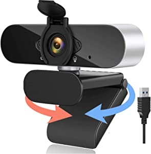 Webcam with Microphone,1080P Web Cameras USB Plug and Play,Built-in Dual Noise Reduction Mics Computer Camera for Online Class,Zoom Meeting Skype Facetime Teams,Webcams PC Mac Laptop/Desktop