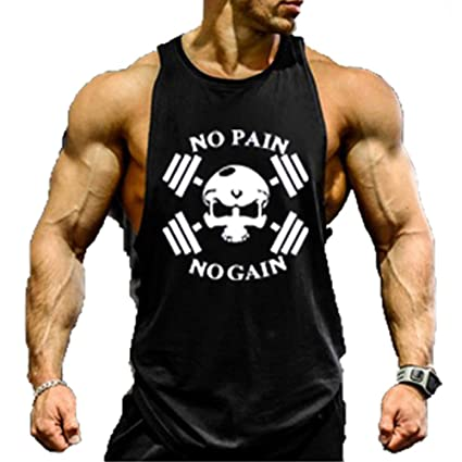 45386c58b0404 TECOFFER MEN BODYBUILDING TANK TOP GYM STRINGER WORKOUT VEST SINGLET  Fitness shirt (Black