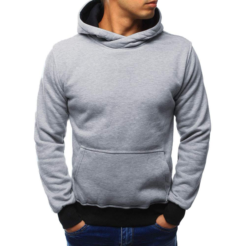 Amazon.com: Easytoy Fashion Mens Solid Hoodies Long Sleeve Hooded Top Sweatshirt with Kangaroo Pocket: Sports & Outdoors