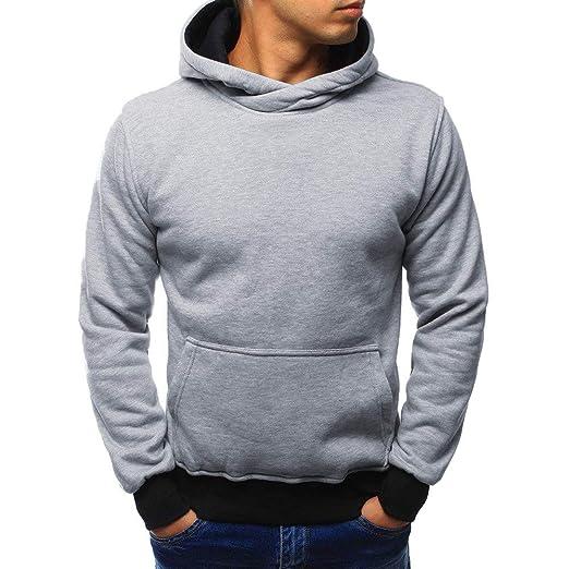 Overdose Blusa Hombres Invierno Color SóLido con Capucha Gris Simple Outwear Blusa Negro Blusa OtoñO Camisa Sudadera: Amazon.es: Ropa y accesorios