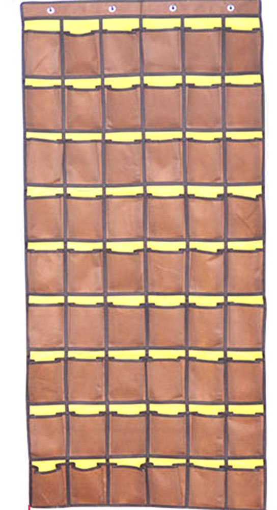 Pocket Charts for Classroom 54 Pockets Graphing Calculator Storage Cell Phone Holders, Brown