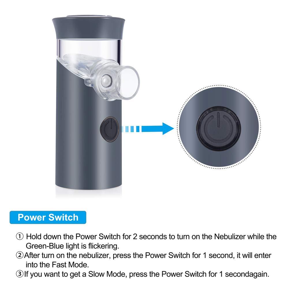 Grigio Mini Nebulizzatore Inalatore PChero Handheld Vaporizzatore a vapore personale Umidificatore Macchina per nebulizzatore con caricatore USB per bambini e adulti