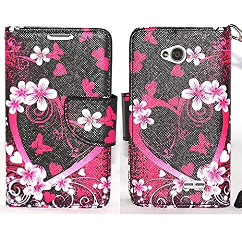 SOGA LG Ultimate 2 Case, LG Ultimate 2 Wallet Case - [Pocketbook Series] PU Leather Magnetic Flip Design Wallet Case for LG Ultimate 2 / L41C - Pink Heart With (Lg L41c Phone Case Wallet)