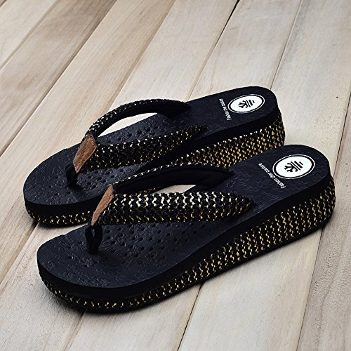 Zapatillas HAIZHEN zapatos de mujer Antideslizantes Antideslizantes Playa Playa Blanco Beige Negro Marrón Para mujeres Negro