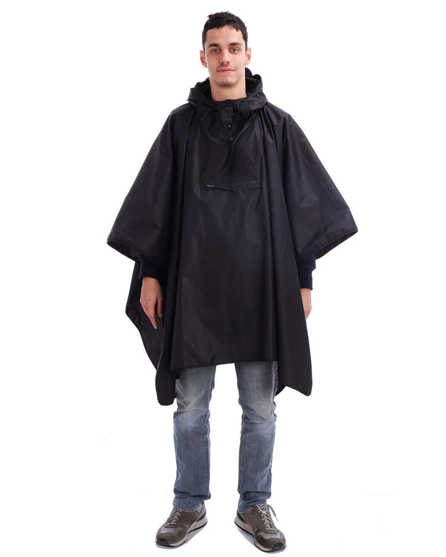 Andake Reusable Rain Poncho with Hood Portable Light Raincoat Geal for Walking Hiking