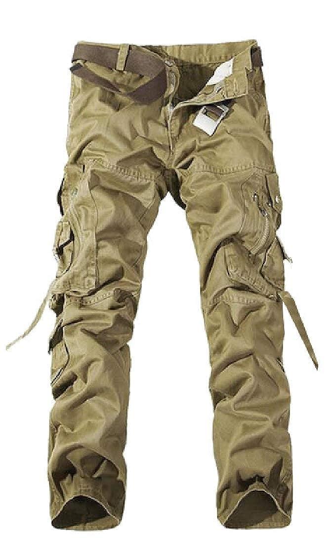 Hajotrawa Mens Multi-Pocket Rugged Workout Straight Sport Casual Pants
