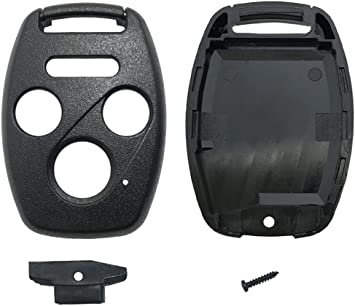 Key Fob Shell Case Fit for 4 Buttons Honda Accord Civic EX Pilot Keyless Entry Remote Car Key Housing Replacement with Free Screwdriver Black Casing Only Without Blade