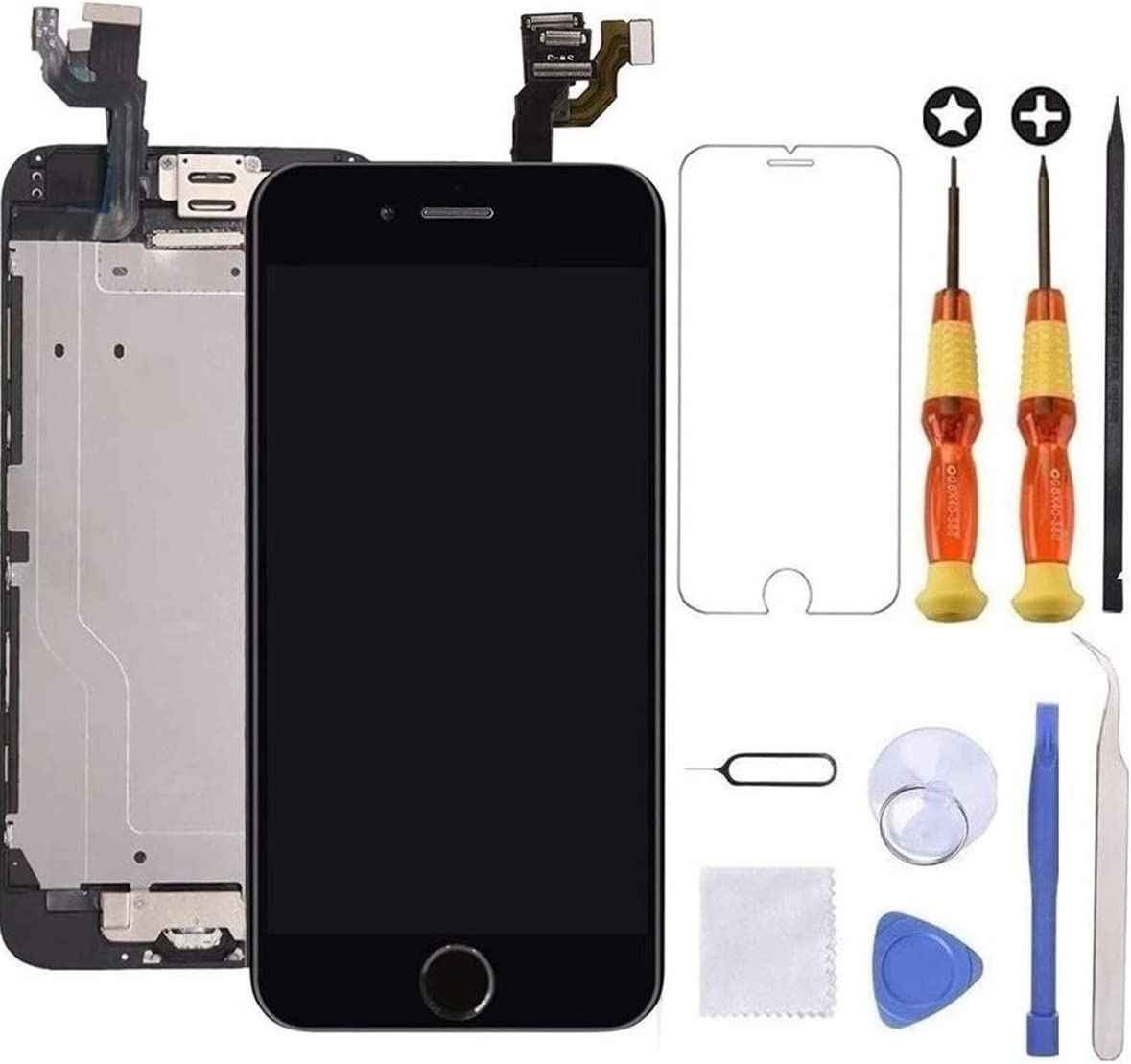 Brinonac for iPhone 6 Screen Replacement Black Touch Display LCD Digitizer Full Assembly with Front Camera,Proximity Sensor,Ear Speaker and Home Button Including Repair Tool and Screen Protector