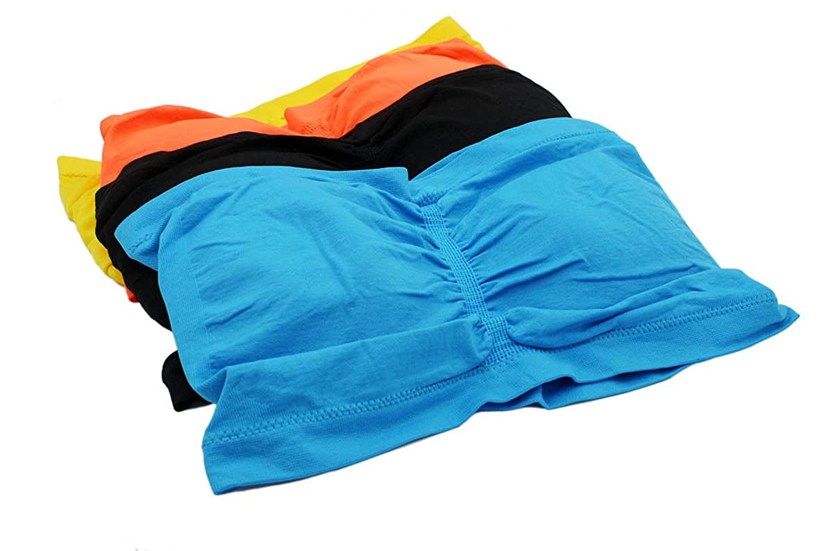 b9447437dd7 Pack of 4 plus sizes ladies bandeau bra with pad -seamless fits up to  XL-2XL-3XL Yellow-Orange-Black-Turquoise at Amazon Women s Clothing store