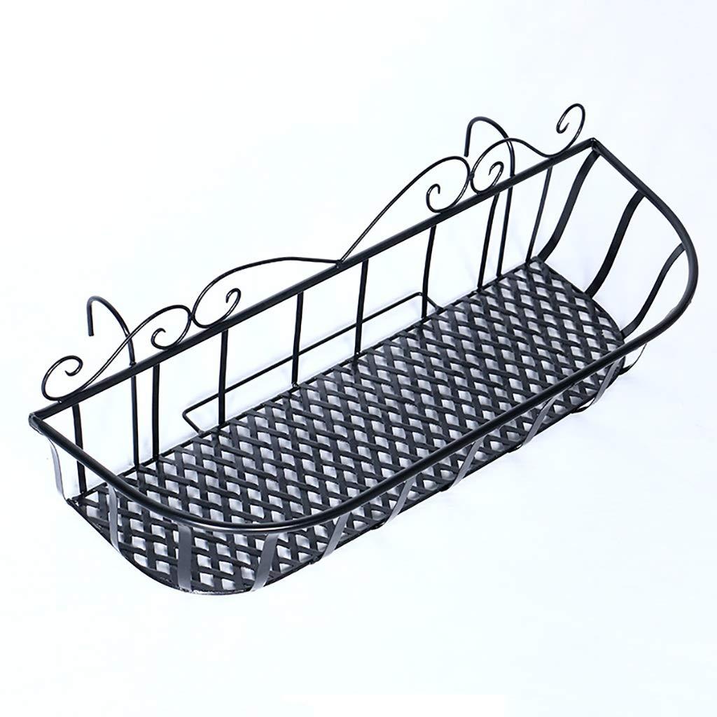 LIZIHUAJA Portafiori in Ferro Stile Europeo Recinzione parapetto Appendiabiti a Sospensione Tre Dimensioni Nero (Dimensioni   60  19  18cm)