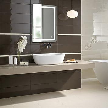 Flyelf Badezimmer-Wand-Spiegel, 50 x 70 x 4 cm, mit Licht 9W: Amazon ...