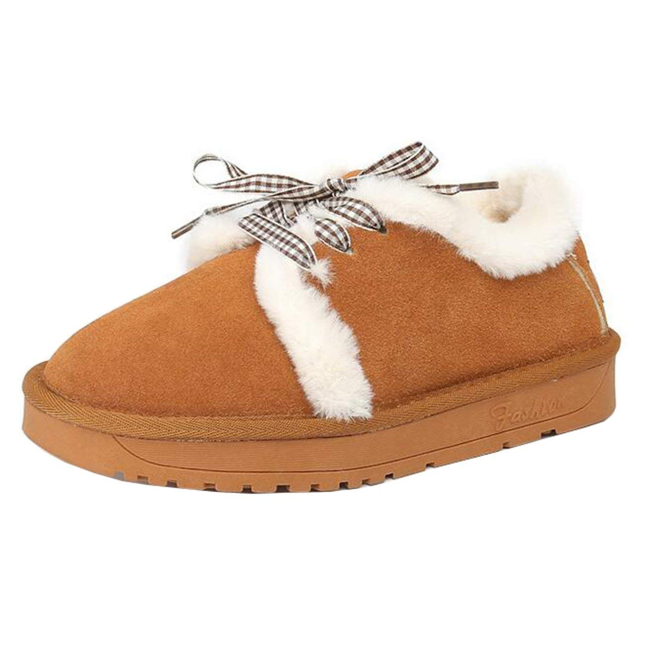 Fuxitoggo Damen Runde-Toe Flache Schnür-Fell Schneeschuhe Schneeschuhe Schneeschuhe (Farbe   Braun Größe   7 UK) a11866