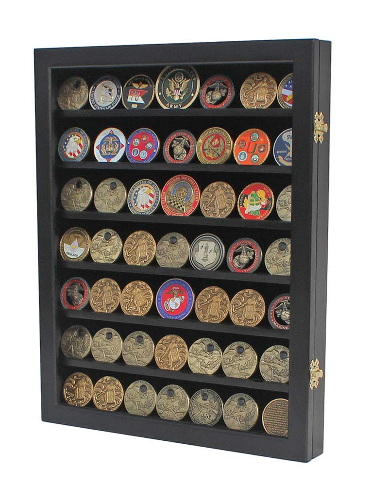 Military Challenge Coin Display Case Cabinet Poker Chip Rack Wood Cabinet, Glass Door (COIN46-BL)