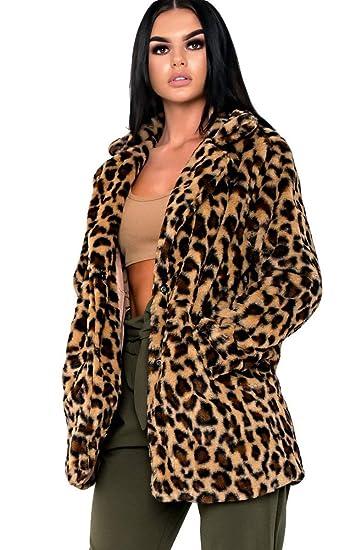 3b97869bffb7 Ikrush Womens Rache Print Faux Fur Coat Leopard UK L: Amazon.co.uk: Clothing