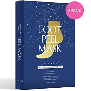 Aliceva One Step Foot Peel Mask, Simple Foot Peeling Mask, Exfoliating Calluses and Dead Skin Remover - 2 Pairs