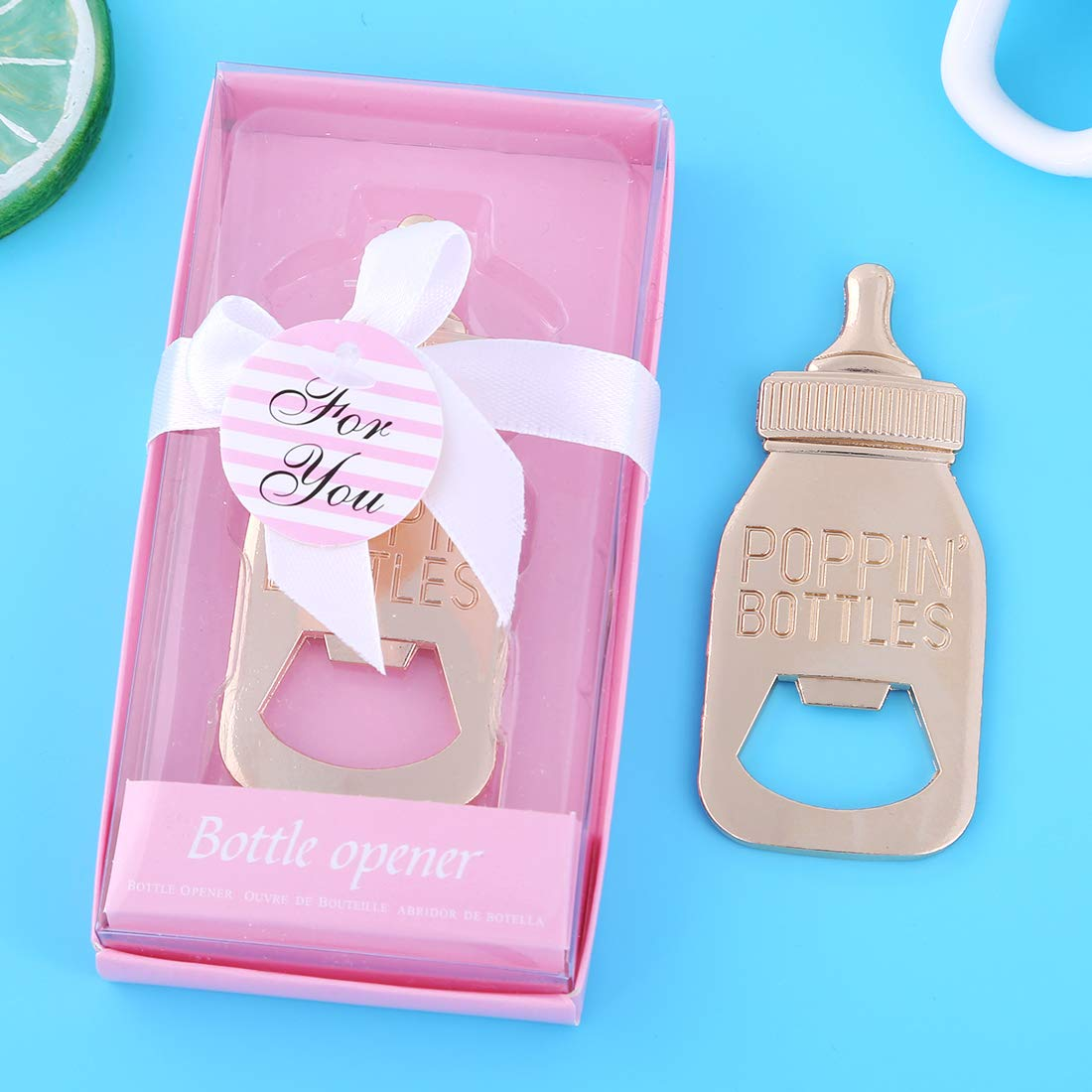 30 Pcs Baby Shower Party Favors Return Gifts For Guests Baby Bottle Bottle Openers Decorations Boy Girl By PARTYGOGO (Pink, 30) by PARTYGOGO