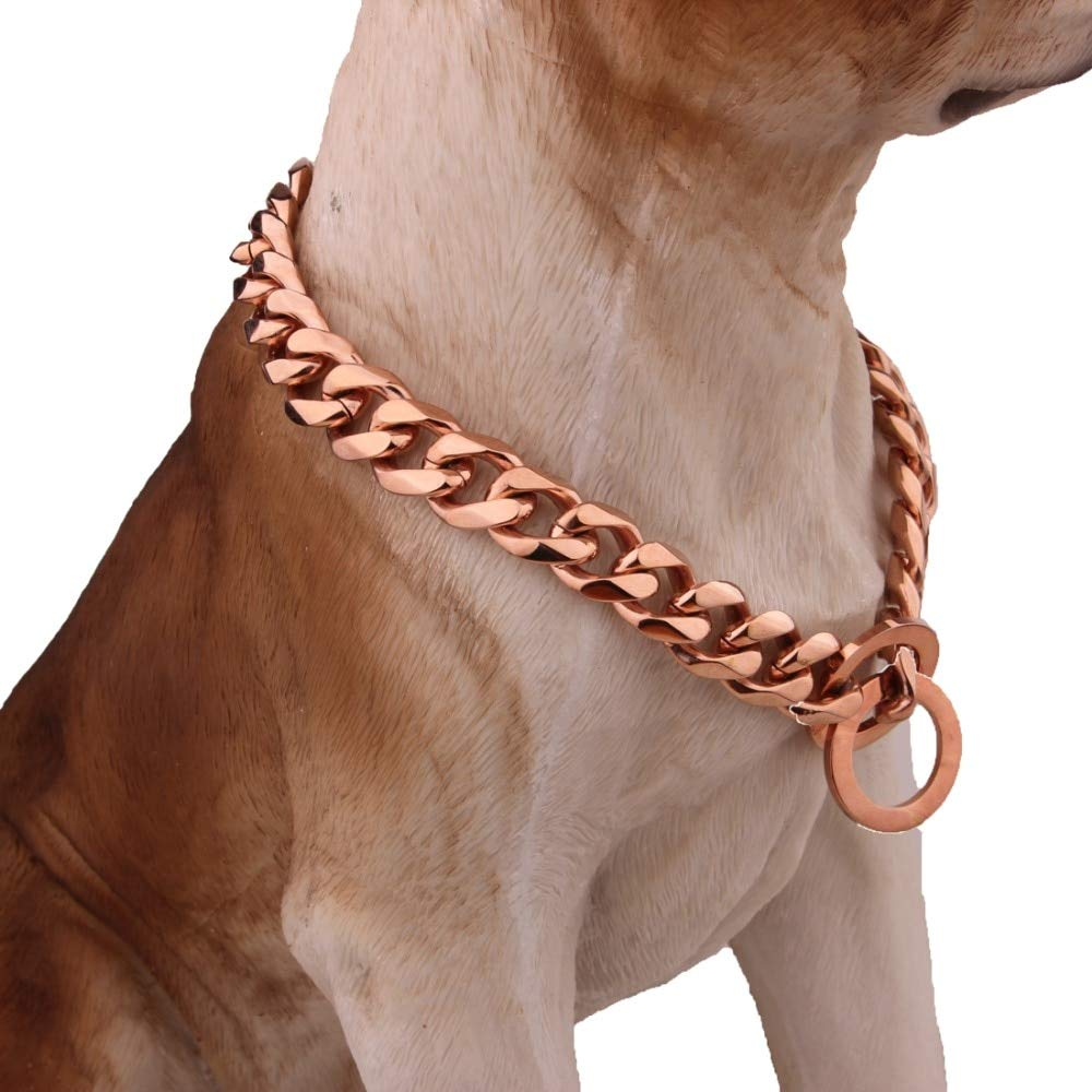 Metal Dog Training Choke Chain for Large Dogs | Pitbull Bulldog Strong Dog Rose Necklace (26inch)