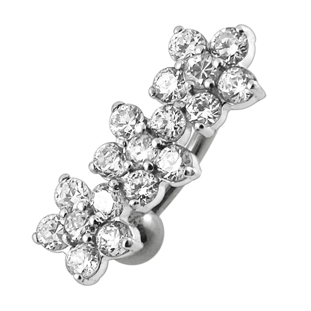 Clear CZ Stone Fancy Triple Flower Reverse Bar 925 Sterling Silver with Grade 23 Solid Titanium Navel Button Ring